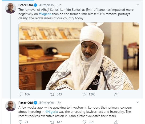 Removal of Sanusi Lamido Sanusi as Emir of Kano has impacted negatively on Nigeria - Peter Obi