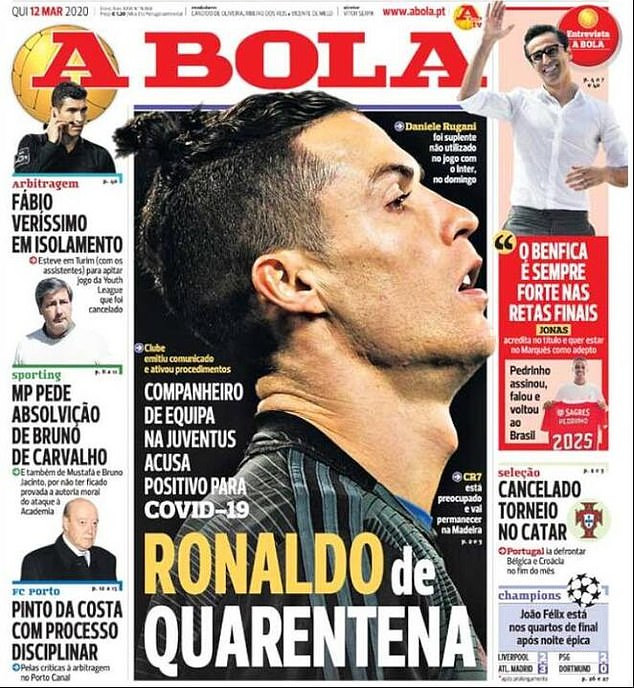 Cristiano Ronaldo reportedly in quarantine in Madeira after his teammate Daniele Rugani tested positive for coronavirus?