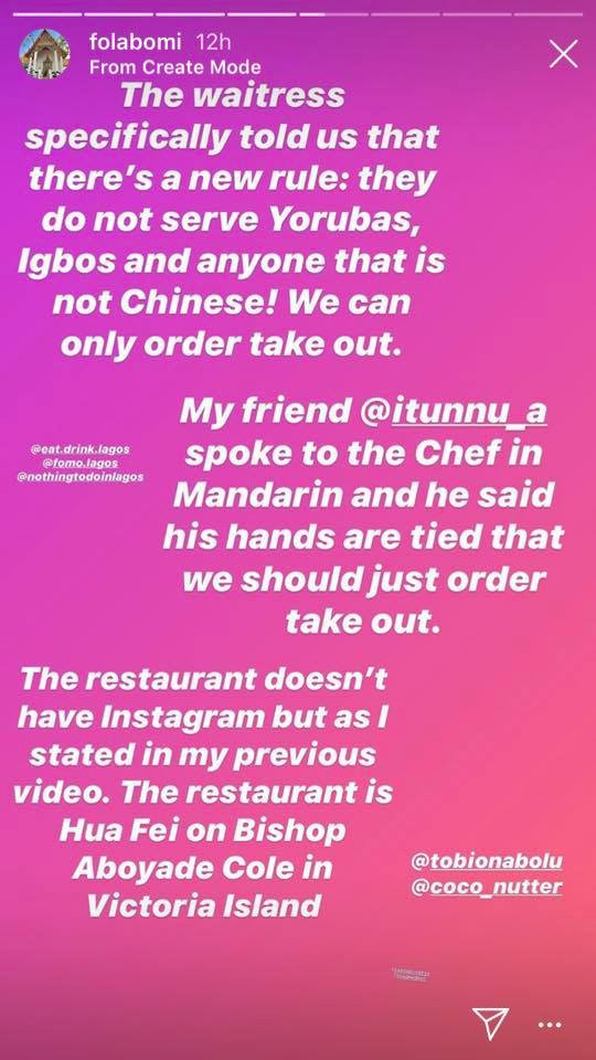 Nigerian lady calls out Chinese restaurant in Lagos that allegedly asked her and her friend to leave because they are blacks (video)