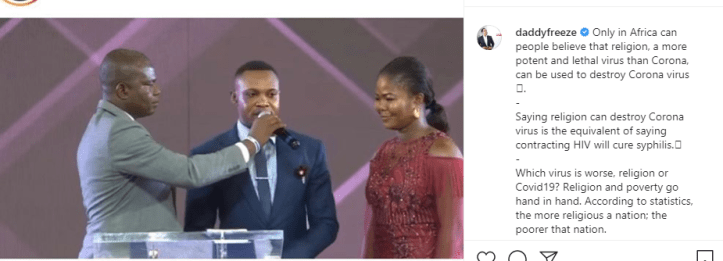 Daddy Freeze reacts to testimony of man who came in contact with Italian man but tested negative for coronavirus after Pastor Ibiyeomie prayed for him