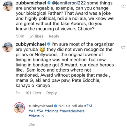 "Actress Monica Friday drags actor Zubby Michael for saying Organizers of AMVCA are ""Yorubas"" and didn"