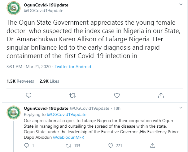 Nigerian doctor who suspected and reported the first case of coronavirus in Nigeria identified, see photos