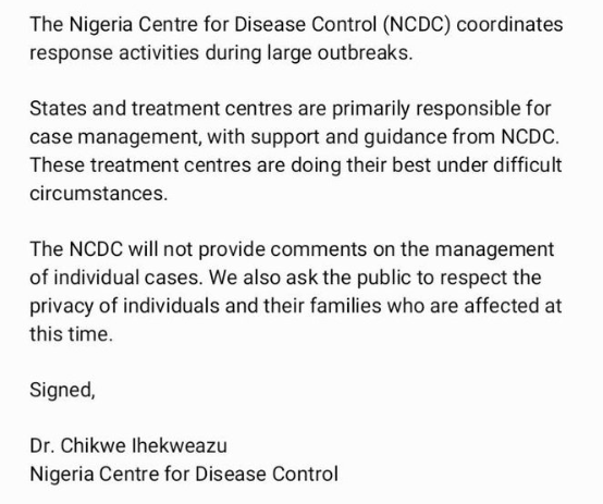 NCDC reacts to claims of negligence in handling ex-PPMC boss who died from Coronavirus