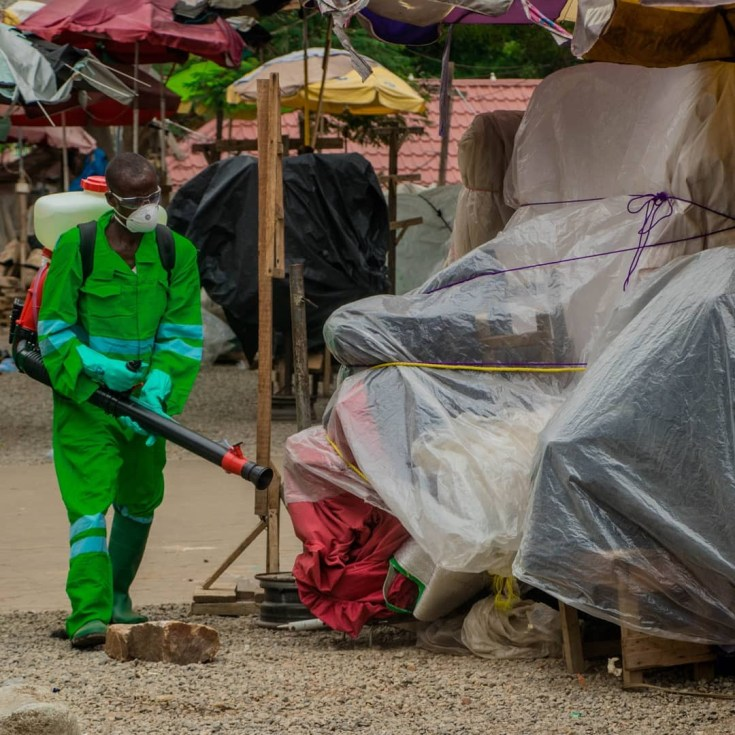 Ghanaian authories fumigate streets, markets as they battle Coronavirus pandemic (photos/Video)