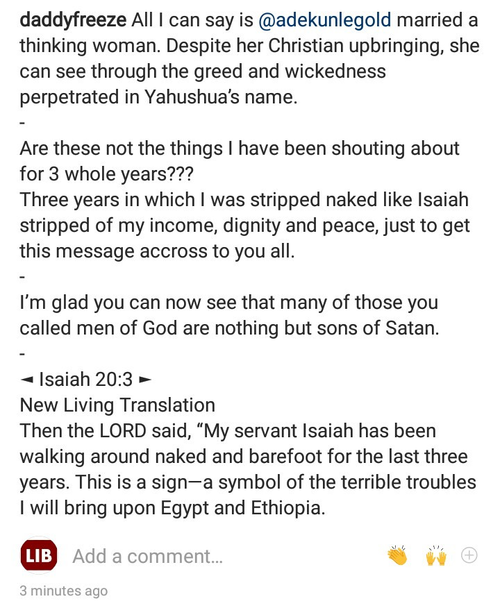 "Many of those so called men of God are nothing but sons of Satan - Daddy Freeze says as he reveals they ""stripped"" him of his income for speaking against tithing"