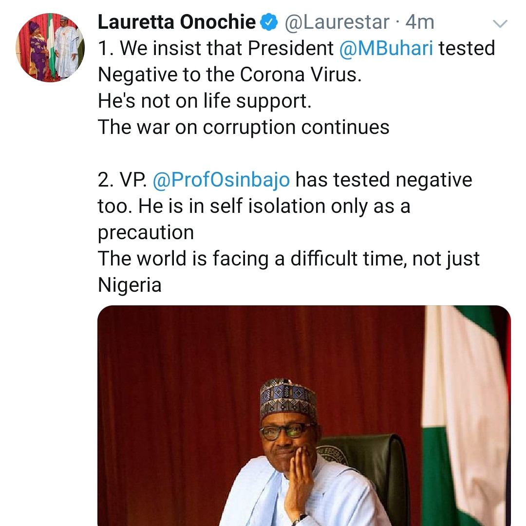 President Buhari tested negative to Coronavirus and he is not on life support- Presidential aide, Lauretta Onochie