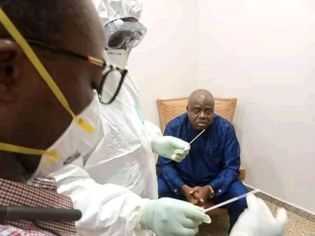 Photos of Governor Duoye Diri undergoing coronavirus test after denying contact with Buhari