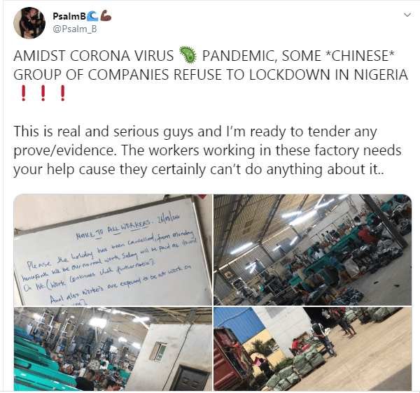 Coronavirus; Chinese Company closed down in Ogun State after its owner refused to comply with ban on large gathering (videos)