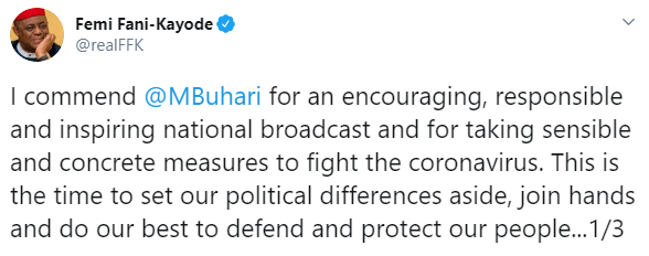 This is the time to set our differences aside and join hands together to protect our people- FFK commends President Buhari for addressing Nigerians