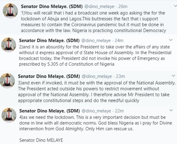The President acted outside his powers- Dino Melaye reacts to presidential order for a lockdown in Ogun, Lagos and FCT
