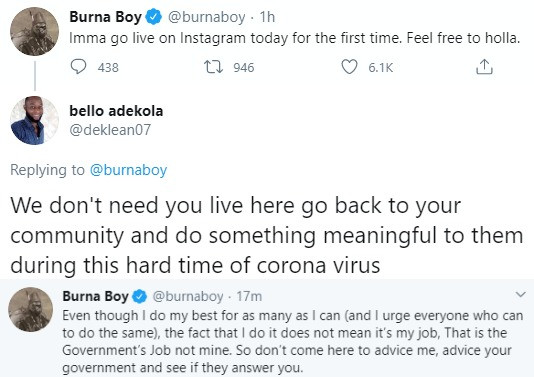 It is the government?s job to make lives better not mine - Burna Boy