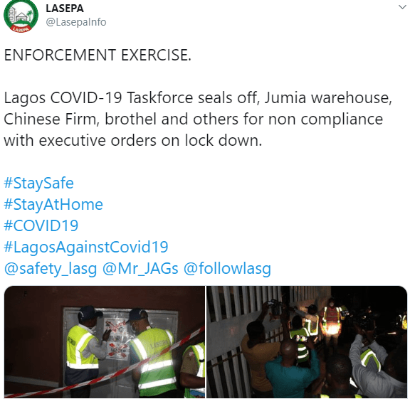 Lagos seals Jumia warehouse, Chinese firm, hotel for defying restriction order (photos)