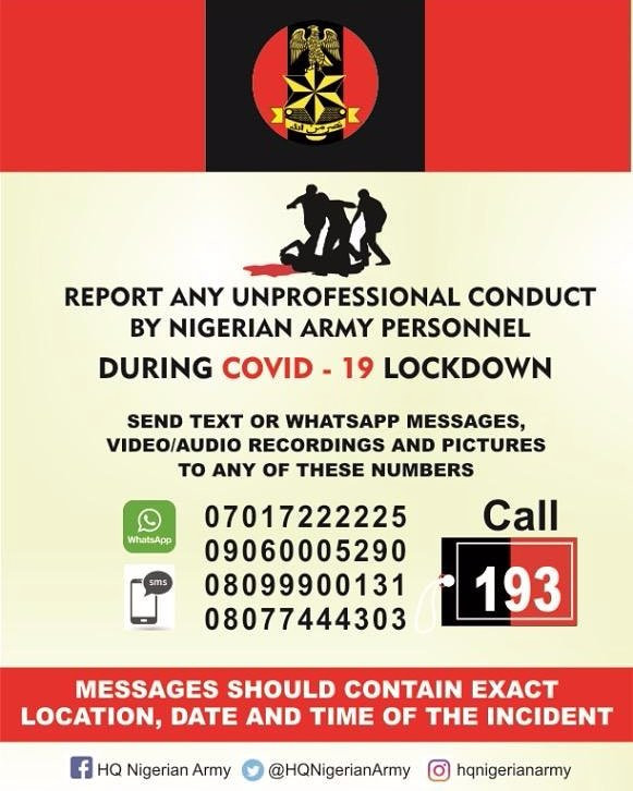 Nigerian Army directs Nigerians on how to report unprofessional conduct of any army personnel during Coronavirus lockdown