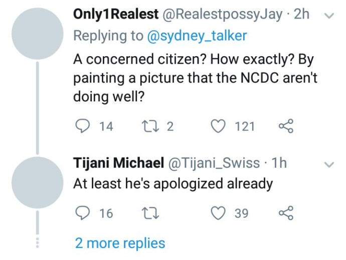 """5e871ec939b27 Sydney Talker apologizes after he was called out for """"wasting"""" the NCDC's time by raising """"false"""" Coronavirus alarm"""