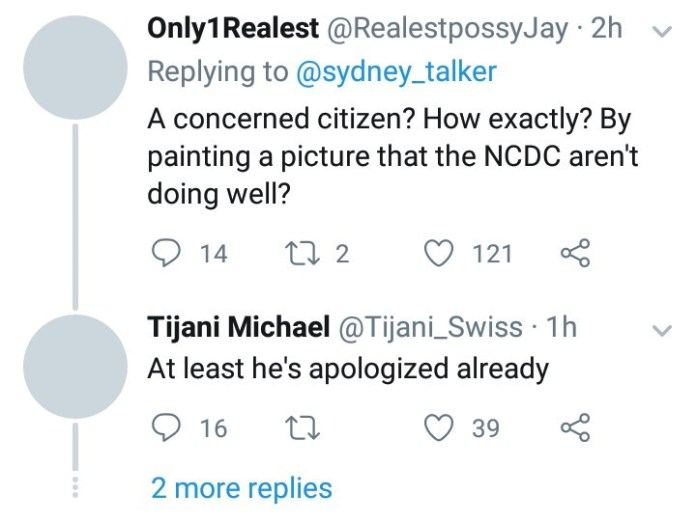 """Sydney Talker apologizes after he was called out for """"wasting"""" the NCDC"""