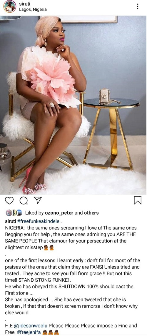 He who has obeyed this shutdown 100% should cast the first stone - Uti Nwachukwu slams hypocrites as he pleads with Governor Sanwo-Olu to release Funke Akindele