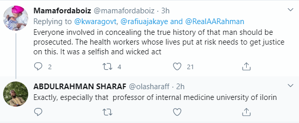 """Outrage as professor of medicine is accused of """"colluding"""" with late Coronavirus patient to hide his travel history from doctors, nurses and burial attendants in Kwara"""