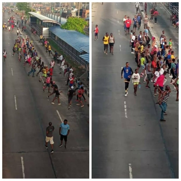 Lagos and Abuja residents defy lockdown order, troop out en-mass to exercise, drive around (photos/video)