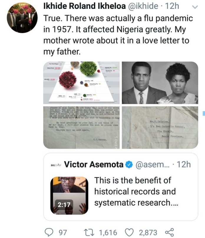 Author, Pa Ikhide shares love letter his mother wrote to his father during the 1957 pandemic that affected Nigeria greatly