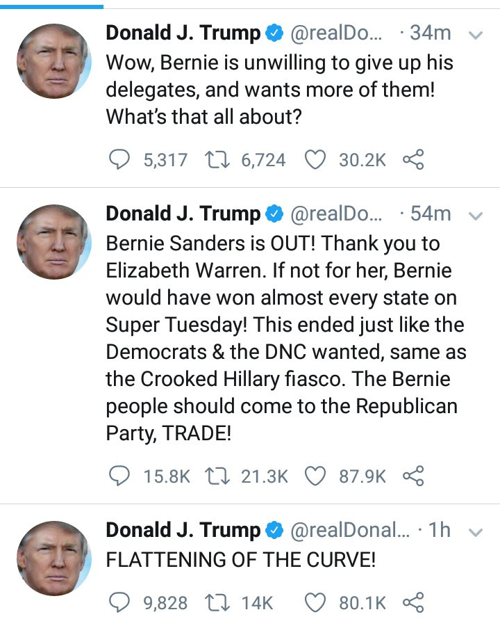 Donald Trump trolls Democrats as Bernie Sanders drops out of presidential race
