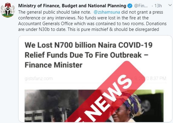 No money was burnt in the fire outbreak at the Accountant General