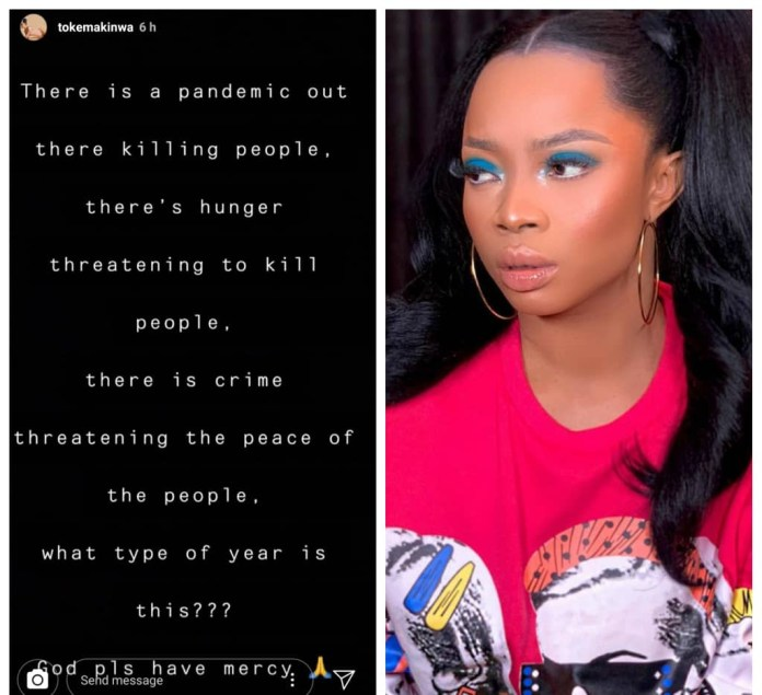 """""""What type of year is this?"""" Toke Makinwa asks as she lists the major problems Nigerians are facing at the moment"""