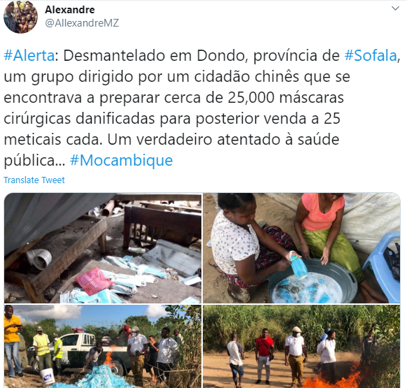 Mozambican women caught washing used facemasks to resell (photos)