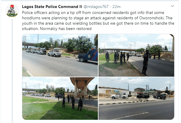 Coronavirus lockdown: One million boys chased out of Oworonshoki by youths, police restore normalcy in the area (videos)