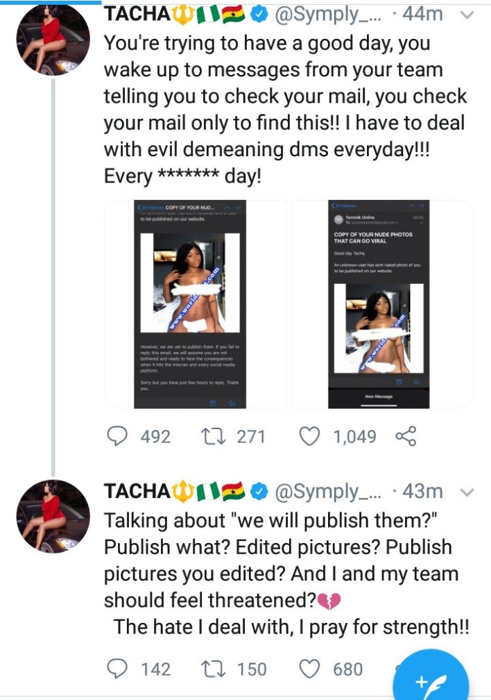 "Tacha releases ""edited"" nude photo that hackers tried to use in blackmailing her"