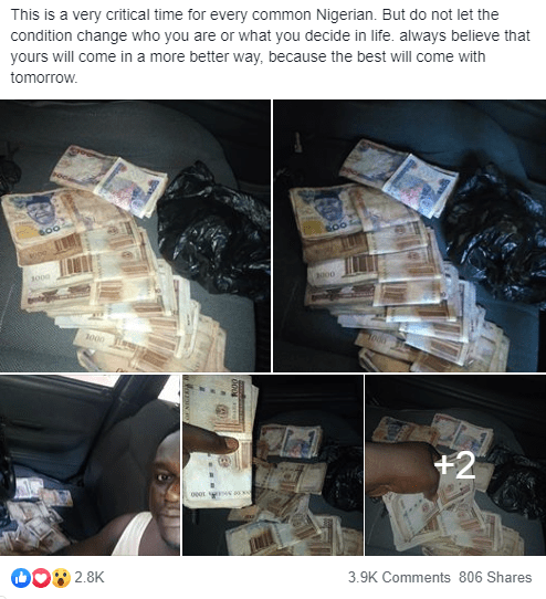 """Nigerian man hailed as a """"good man"""" after he returned 100,000 Naira that fell from a woman"""