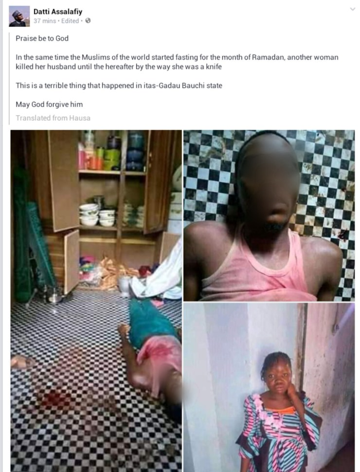 Young housewife stabs her husband to death in Bauchi (graphic photos)