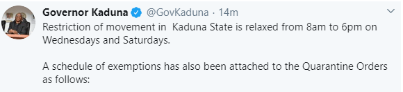 Kaduna state government relaxes lockdown order amid Coronavirus pandemic