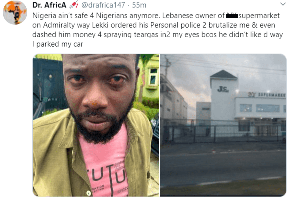 Nigerian doctor accuses Lebanese owner of supermarket in Lekki of brutality
