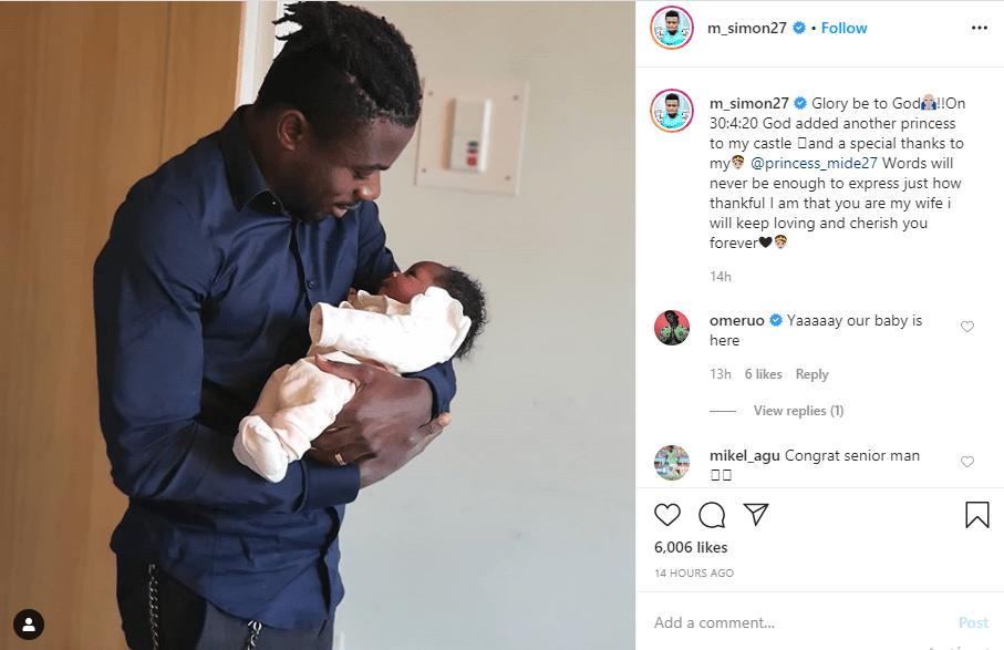 Super Eagles player, Moses Simon and wife, Ibukunoluwa, welcome a baby girl