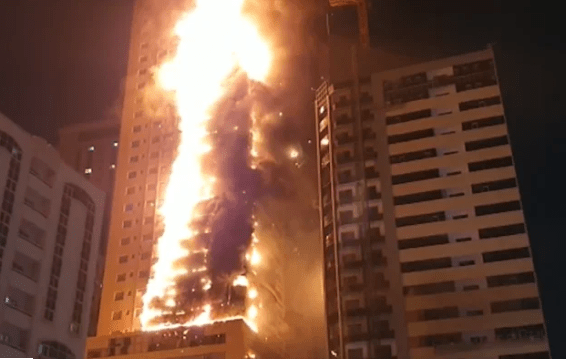 48-storey building gutted by fire in UAE (Video)