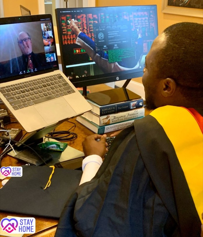 Nigerian man who schooled abroad shares photos from his Zoom graduation ceremony