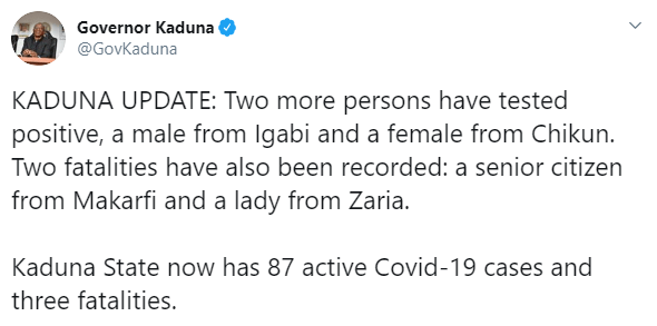 Kaduna and Abuja record 5 fresh COVID-19 deaths