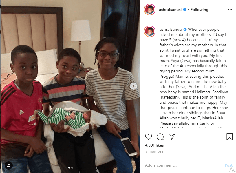 Deposed Emir of Kano, Sanusi Lamido Sanusi welcomes a baby girl with his 4th wife (photos)