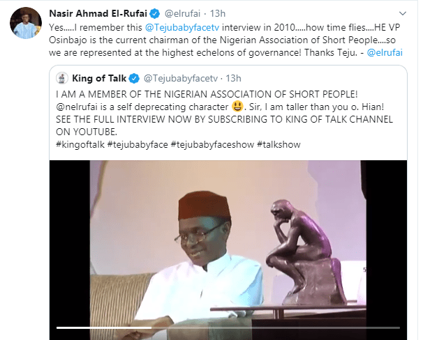 Osinbajo is the current chairman of Short People Association of Nigeria ? Governor El-Rufai jokes
