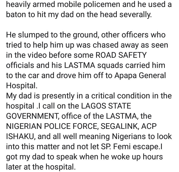 LASTMA official allegedly beaten to coma by police officer while on duty in Apapa (video)  LASTMA official allegedly beaten to coma by police officer while on duty in Apapa (video) 5ebab4900598e