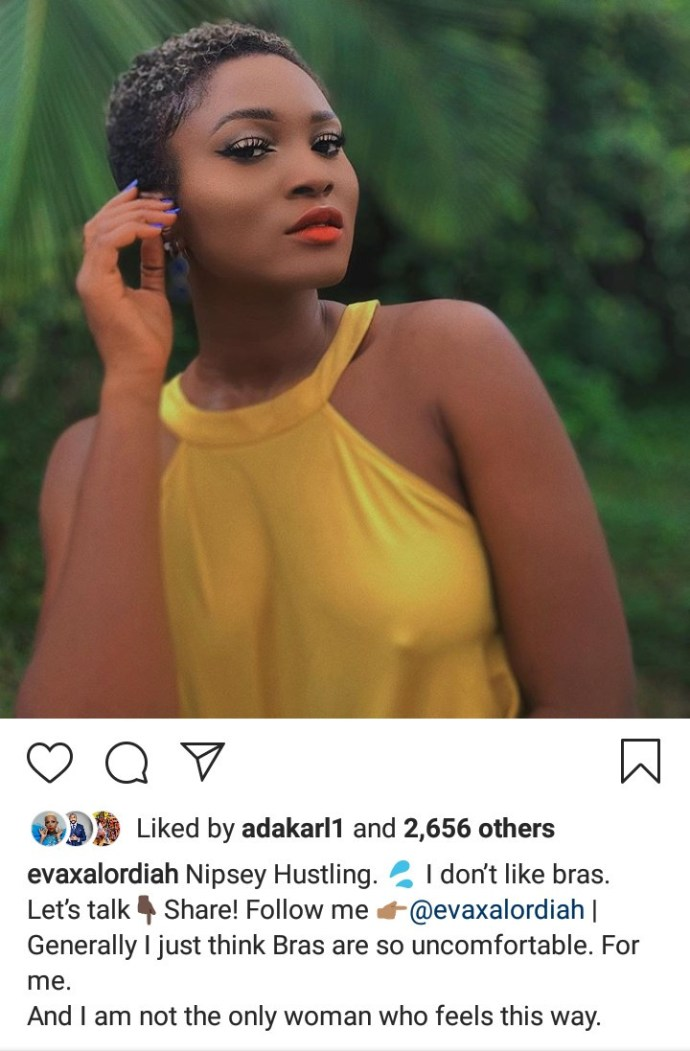 "5ebd20b03bf92 ""I don't like bras"" Eva Alordiah says as she shares braless photo with her nipples on display"