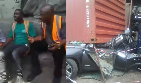 3 men walk away unscathed after a container fell on a car they were travelling in at Apapa  (photos/video)