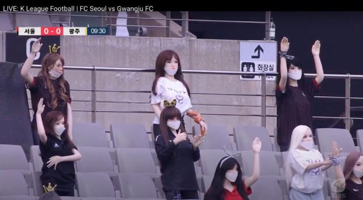 South Korean football club, FC Seoul use sex dolls to fill empty stadium as stand-in fans for a match (Photos)