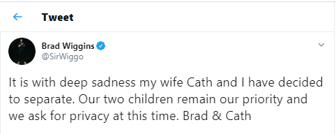 Olympic cycling legend, Sir Bradley Wiggins announces split from wife Cath after 16 years of marriage