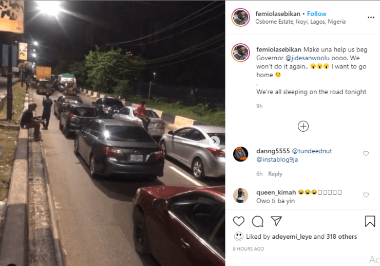Motorists spend the night at Osborne Road in Ikoyi for violating curfew order in Lagos (videos) [object object] Motorists spend the night at Osborne Road in Ikoyi for violating curfew order in Lagos (VIDEO) 5ec4c98a9a065