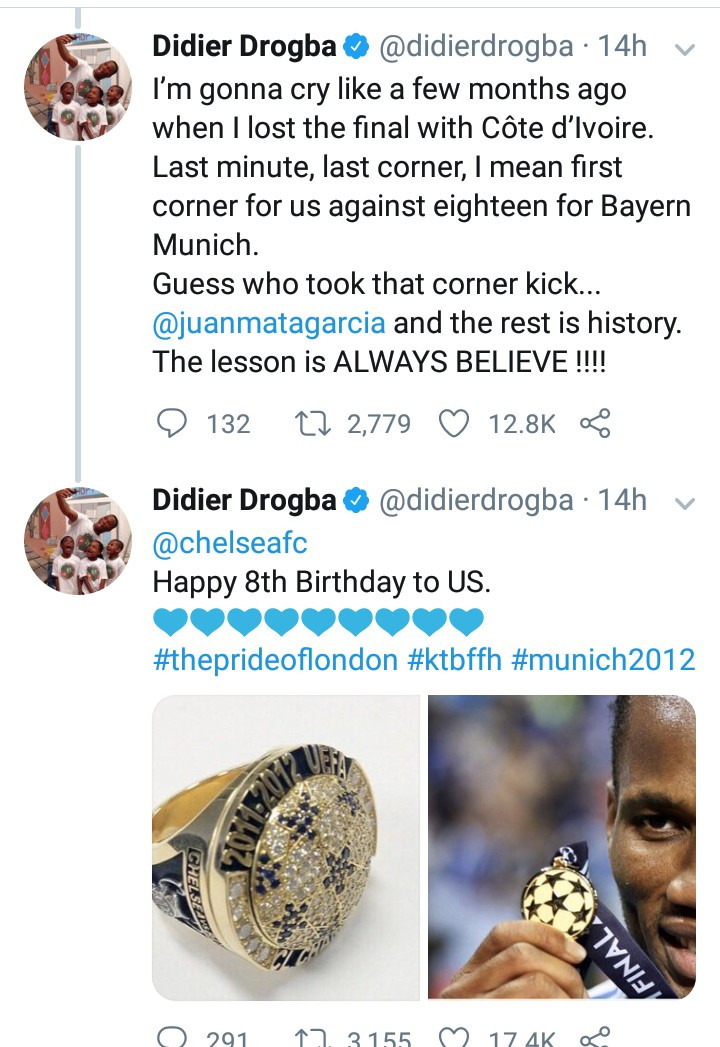 """""""Always believe"""" Didier Drogba shares emotional story about how his teammate helped him win the Champions League with only 8 minutes to go"""