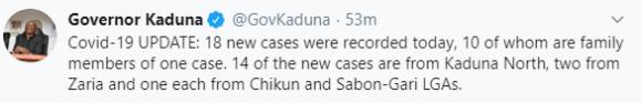 10 members of a family test positive for Coronavirus in Kaduna