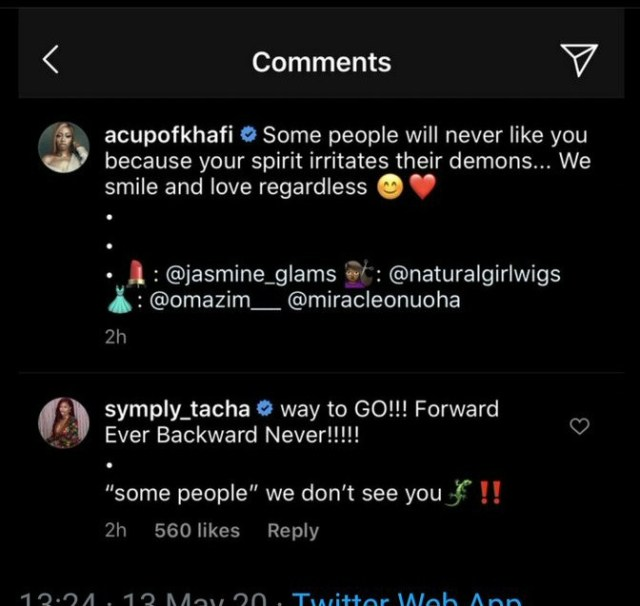 Former BBNaija housemates, Mercy Eke and Venita Akpofure shade Tacha after she came to Khafi