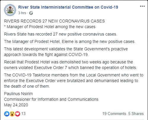 Manager of demolished hotel among 27 new cases of Coronavirus  ? Rivers government  Manager of demolished hotel among 27 new cases of Coronavirus – Rivers government 5ecb68570f2c7