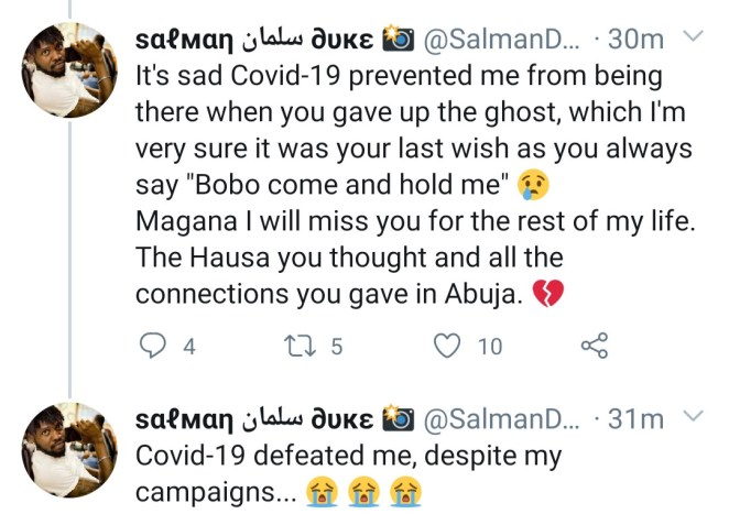 Twitter user mourns his close girfriend who just died from COVID-19 in Abuja